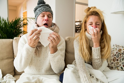 couple with the flu