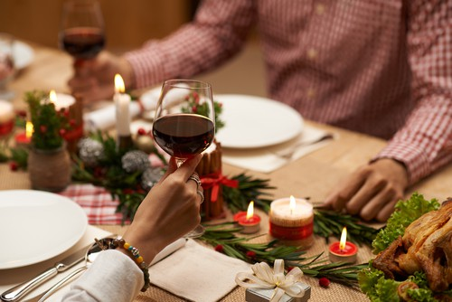 holiday meal with wine